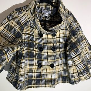 Steve Madden Yellow/Black Plaid Coat L